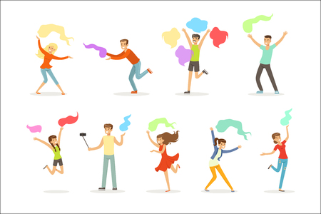 Smiling people dancing with shawl set for label design. Cartoon detailed colorful Illustrations isolated on white background