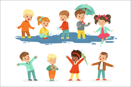 Cute smiling little kids playing on puddles, set for label design. Children having fun outdoor wearing colorful clothes. Cartoon detailed colorful Illustrations isolated on white background Standard-Bild - 111535291