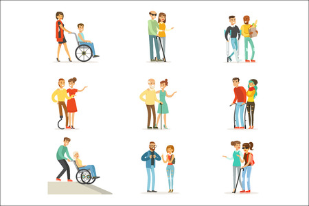 Help and care for disabled people set for label design. Cartoon detailed colorful Illustrations isolated on white background Illustration