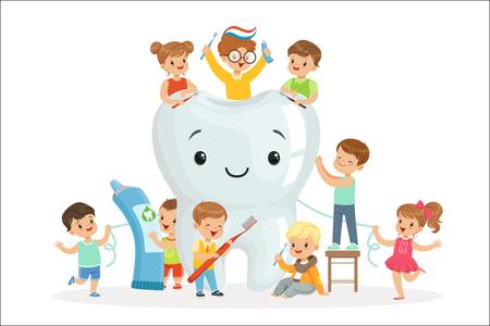 Kleine kinderen verzorgen en reinigen een grote, lachende tand. Kindertandheelkunde en het verzorgen van kindertanden. Kleurrijke stripfiguren gedetailleerde vector illustraties geïsoleerd op een witte achtergrond