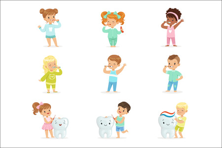 Cute little boys and girls brushing teeth. Hygiene of children teeth. Colorful cartoon characters detailed vector Illustrations isolated on white background