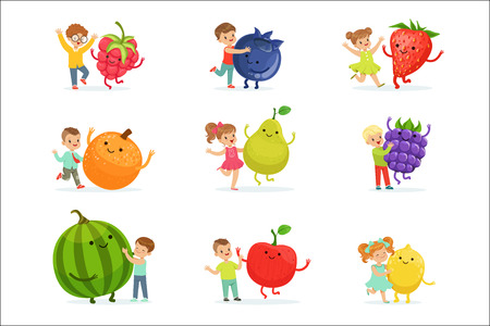 Cute little children having fun and playing with big fruits, set for label design. Healthy eating, dieting, vegetarian kitchen concept. Colorful cartoon characters detailed vector Illustrations isolated on white background