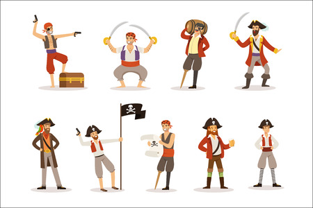 Pirate Sailors With Classic Filibusterer Attributes Set Of Smiling Male Characters With Guns And Sabers. Cut-throat Sea Bandits In Pirate Costumes Set Of Vector Illustrations. Illustration
