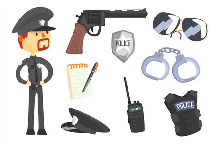 Policía profesional y sus herramientas, hombre y su conjunto de atributos de profesión de objetos de dibujos animados aislados. Colección de elementos aislados relacionados con el deber de policía y policía.
