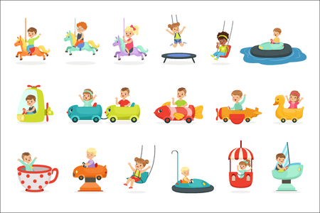 Children having fun in an amusement park, set for label design. Active leisure for children. Cartoon detailed colorful Illustrations isolated on white background