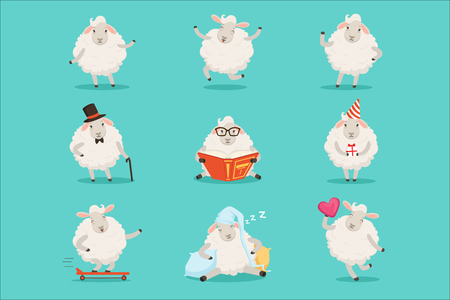 Cute little sheep cartoon characters set for label design. Sheep activities with different emotions and poses. Colorful detailed vector Illustrations isolated on white background