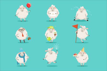 Zabawny ładny mały owiec postaci z kreskówek zestaw do projektowania etykiet. Zajęcia owiec z różnymi emocjami i pozami. Kolorowe szczegółowe ilustracje wektorowe na białym tle