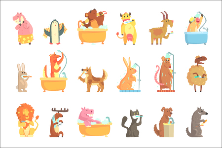 Cute animals bathing and washing in water, set for label design. Hygiene and care, cartoon detailed Illustrations isolated on white background Illustration