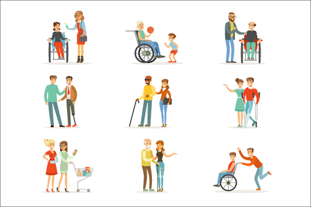 Disabled people and friends helping them set for label design. Cartoon detailed colorful Illustrations isolated on white background