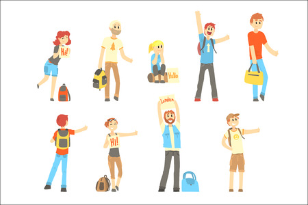 Hitchhiker standing with backpack and bag, set for label design. Hitch hike traveler person. Travel hitchhiking concept. Cartoon detailed colorful Illustrations isolated on white background Stock Vector - 107218235