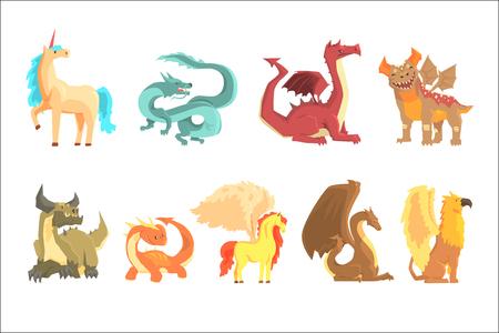 Animales mitológicos, establecidos para el diseño de etiquetas. Dragón, unicornio, pegaso, grifo, dibujos animados ilustraciones detalladas aisladas sobre fondo blanco Ilustración de vector