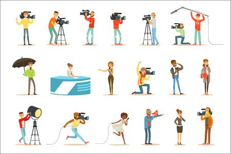 Programma di notizie equipaggio di cameramen professionisti e giornalisti che creano trasmissione televisiva del televisore in diretta di personaggi dei cartoni animati. Persone che lavorano nella produzione televisiva, riprese di materiali giornalistici e serie di reportage di scene vettoriali. Vettoriali