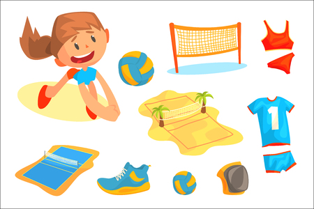 Girl playing with a ball at beach volleyball set for label design. Sports equipment for volleyball. Cartoon detailed Illustrations isolated on white background Illustration