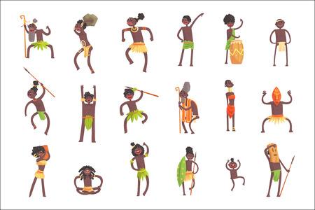 Afrikanische Stammesmitglieder, Krieger und Zivilisten in Blatt-Lendenschurz-Set von lächelnden Cartoon-Figuren. Indigene glückliche Menschen aus Schwarzafrika in Stammes-Kleidung Vektor isolierte Illustrationen. Vektorgrafik