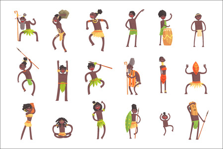 Membri della tribù africana, guerrieri e civili In perizoma foglia Set di personaggi dei cartoni animati sorridenti. Gente indigena felice dall'Africa nera nelle illustrazioni isolate di vettore dei vestiti tribali. Vettoriali