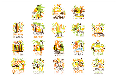 Madagascar, Crete, Bali, Seychelles, Ibiza, Jamaica resort set for label design. Summer beach tourism and rest vector Illustrations Çizim