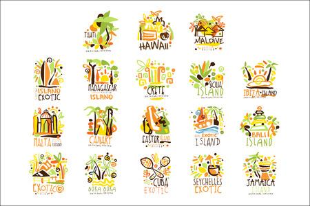 Madagaskar, Kreta, Bali, Seszele, Ibiza, Jamajka zestaw do projektowania etykiet. Letnia turystyka plażowa i ilustracje wektorowe odpoczynku
