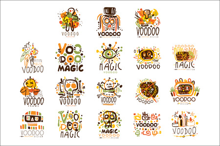 Voodoo African and American magic set for label design. Spiritual, magical, cultural vector Illustrations