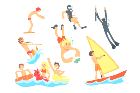 People On Summer Vacation At The Sea Playing And Having Fun With Water Sports On The Beach Set Of Illustrations. Cool Cartoon Characters Having Good Time Enjoying Beach Holidays. Ilustração