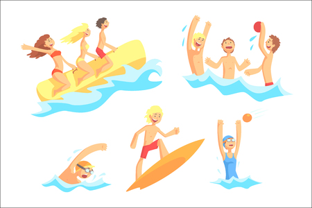 People On Summer Vacation At The Sea Playing And Having Fun With Water Sports On The Beach Series Of Illustrations. Cool Cartoon Characters Having Good Time Enjoying Beach Holidays.
