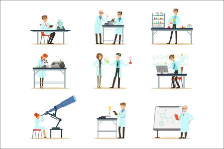 Científicos en el trabajo en un laboratorio y una oficina Conjunto de personas sonrientes que trabajan en ciencias académicas haciendo investigación científica. Hombres y mujeres en batas de laboratorio blancas ejecutando experimentos en ilustraciones vectoriales de laboratorio. Ilustración de vector
