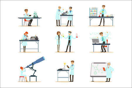 Scientists At Work In A Lab And An Office Set Of Smiling People Working In Academic Science Doing Scientific Research. Men And Women In White Lab Coats Running Experiments In Laboratory Vector Illustrations.