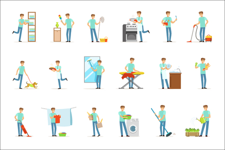 Smiling househusbands washing, cooking, cleaning, vacuum cleaning and shopping. Set of colorful cartoon detailed vector Illustrations isolated on white background 일러스트