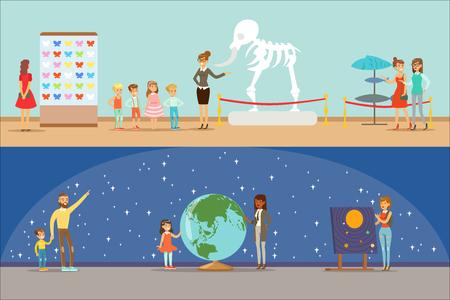 Visitatori del museo che fanno un tour del museo con e senza guida guardando le mostre di arte e scienza insieme di illustrazioni