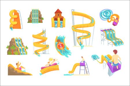 레이블 디자인을 위해 설정된 워터 슬라이드를 즐기는 사람들. 흰색 배경에 고립 된 만화 상세한 삽화