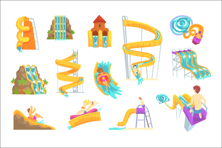 Persone che si divertono a giocare a scivoli d'acqua, impostate per la progettazione di etichette. Cartoon dettagliate illustrazioni isolate su sfondo bianco