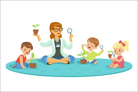 Leraar met kinderen die leren over planten tijdens biologieles. Preschool milieueducatie concept. Cartoon gedetailleerde kleurrijke illustraties geïsoleerd op een witte achtergrond