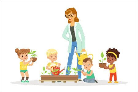 Teacher with kids learning about plants during biology lesson. Preschool environmental education concept. Cartoon detailed colorful Illustrations isolated on white background