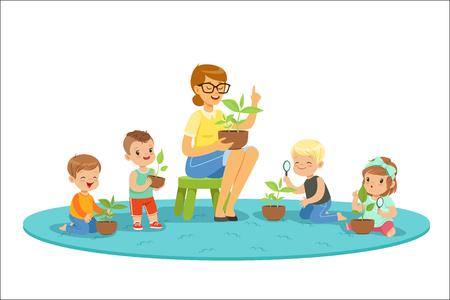 Lección de biología en el jardín de infantes, niños mirando plántulas de plantas. Concepto de educación ambiental preescolar. Dibujos animados detallados ilustraciones coloridas aisladas sobre fondo blanco