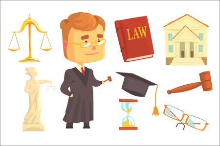 Giudice e attributi dell'attività giudiziaria fissati per la progettazione di etichette. Legge e giustizia, fumetto dettagliate illustrazioni colorate