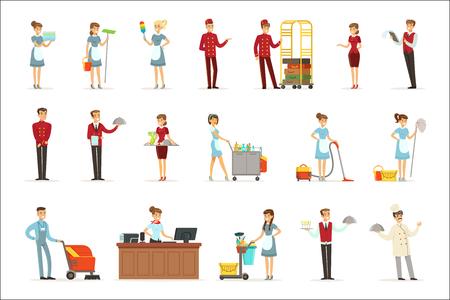Hotelpersonal für Etikettendesign eingestellt. Rezeptionistin, Concierge, Manager, Kellner, Zimmermädchen, Portier. Bunte Cartoon detaillierte Illustrationen auf weißem Hintergrund Illustration Vektorgrafik