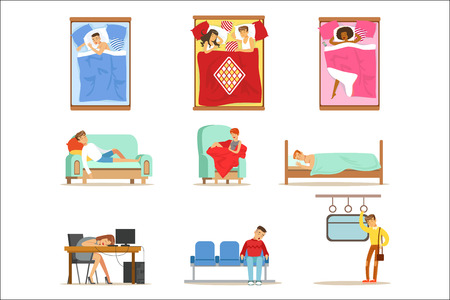 Persone che dormono in posizioni diverse a casa e al lavoro, personaggi stanchi che si addormentano serie di illustrazioni. Uomo e donna che prendono un pisolino ovunque possano riposare e sentirsi rilassati.
