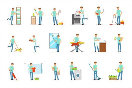 Glimlachende huismannen wassen, koken, schoonmaken, stofzuigen en winkelen. Reeks kleurrijke cartoon gedetailleerde vectorillustraties die op witte achtergrond worden geïsoleerd