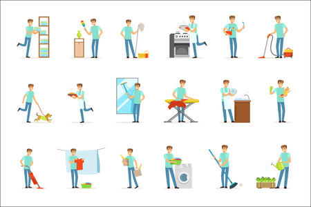 Smiling househusbands washing, cooking, cleaning, vacuum cleaning and shopping. Set of colorful cartoon detailed vector Illustrations isolated on white background Illustration