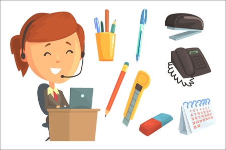 Smiling woman in headset, set for label design. Work in the office, office supplies. Colorful cartoon detailed Illustrations isolated on white background