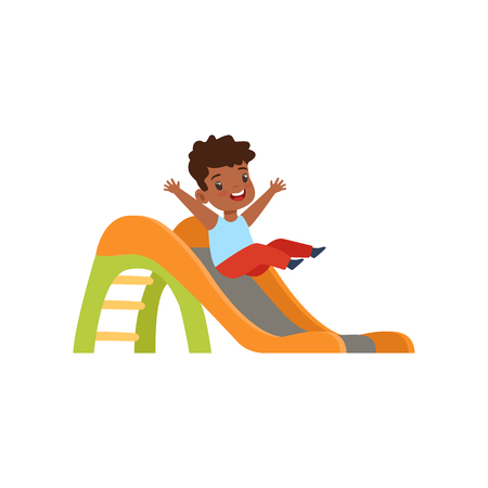 Cute little african american boy sliding down the slide, kid having fun on playground vector Illustration isolated on a white background.