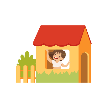 Cute little girl playing house, kid having fun on playground vector Illustration isolated on a white background.