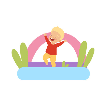 Cute little boy jumping on inflatable trampoline vector Illustration isolated on a white background Illustration