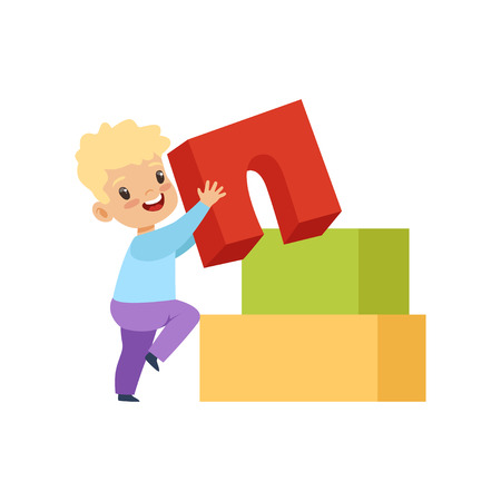 Cute little boy playing with buiding toy blocks vector Illustration isolated on a white background. Çizim