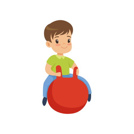 Cute little boy bouncing on red hopper ball vector Illustration isolated on a white background.