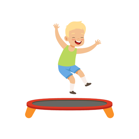 Boy playing trampoline, kid having fun on playground vector Illustration isolated on a white background. Ilustracja