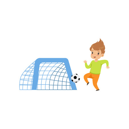 Cute littlle boy playing football, kid having fun on playground vector Illustration isolated on a white background. Ilustracja
