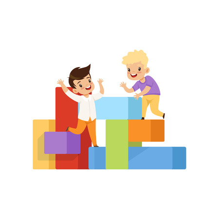 Boys playing and having fun on playground vector Illustration isolated on a white background.