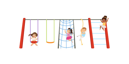Little kids having fun on playground, children swinging on swing, climbing up ladder and rope vector Illustration isolated on a white background.