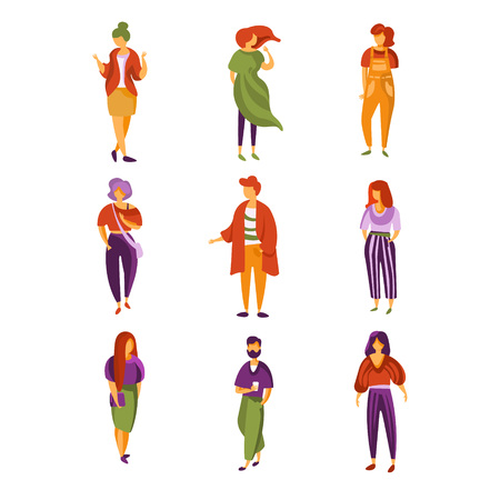 Stylish people set, men and women dressed in trendy modern clothes vector Illustration isolated on a white background. Ilustrace