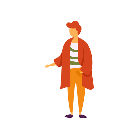 Stylish fashionable young man in modern clothing vector Illustration isolated on a white background.